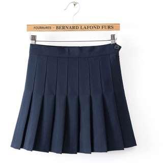 Dark Blue pleated skirt w/ Shorts