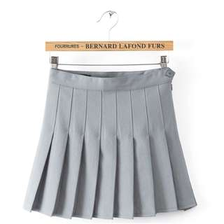 Grey Pleated skirt with Shorts