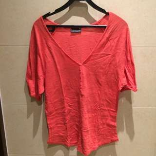 Red Deep V Neck Tee