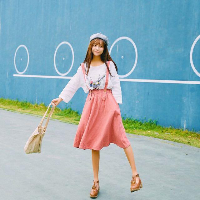 「預購+現」日系♥森林系青春少女文藝甜美純色棉麻鬆緊吊帶裙及膝裙