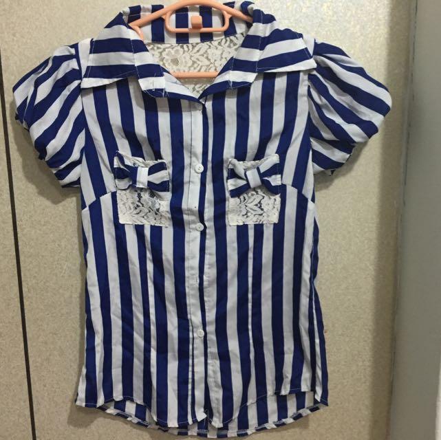 (任兩件免運)藍直條雪紡襯衫