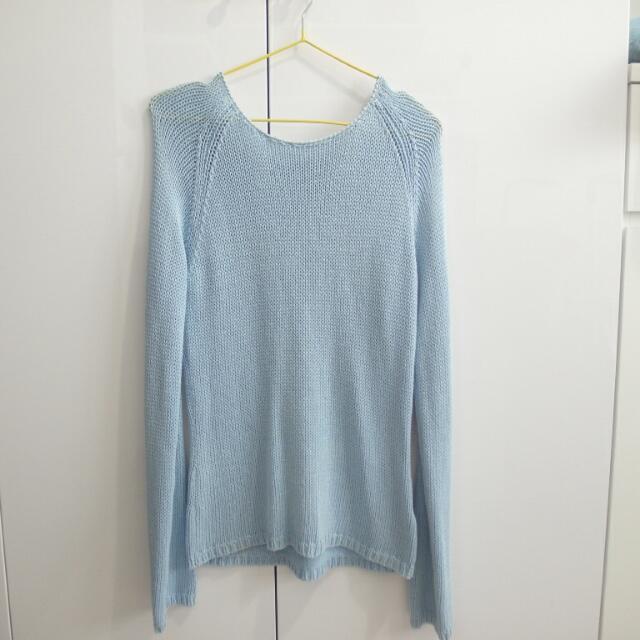 西班牙貼身粗針織水藍色毛衣
