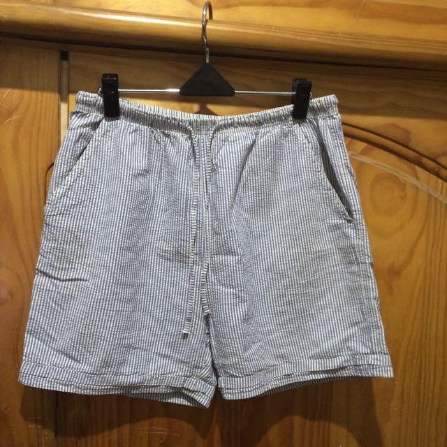 居家直條紋休閒短褲