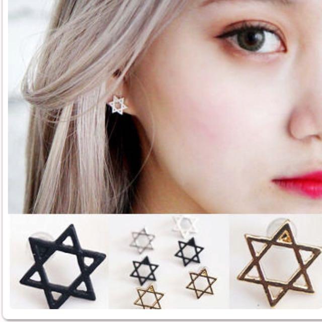 歐美個性六角星耳飾 ✨特價