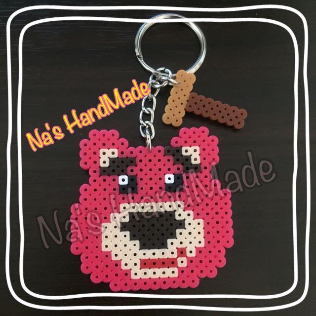 [手工拼豆]熊抱哥♥️拐杖槌 鑰匙圈