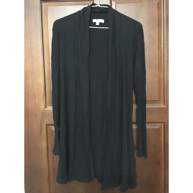 黑色長版薄外套 夏天適合防曬 透風