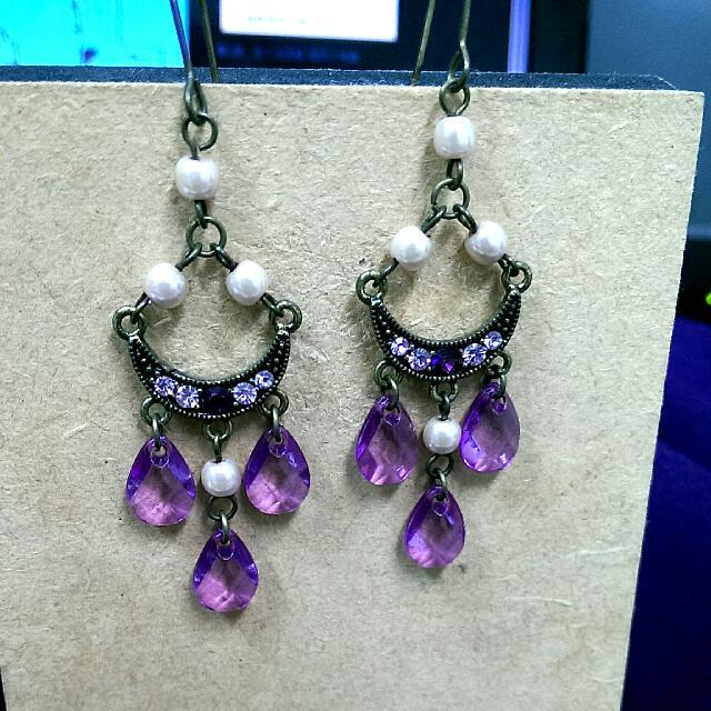 純手工 印度風 紫色水滴