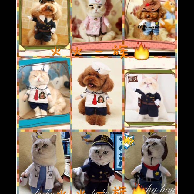 角色的扮演 寵物裝 寵物衣 警察 護士 醫生 賽車手 畢業生 水手 職業裝 制服 站立裝 狗衣服 貓衣服 Cosplay 狗 貓 衣服 變身 變裝 萬聖節