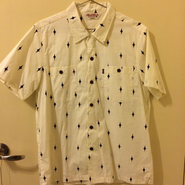 日本西岸復古品牌 Cluct Works 短袖復古木頭扣襯衫