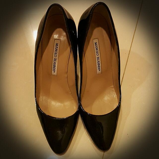 二手真品 Manolo Blahnik 黑漆皮鞋