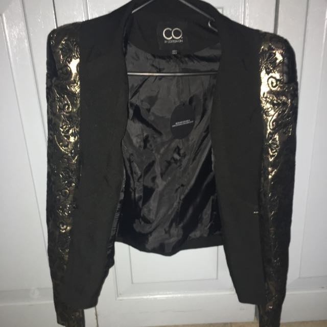 CO Black Blazer W Gold Floral Sleeves