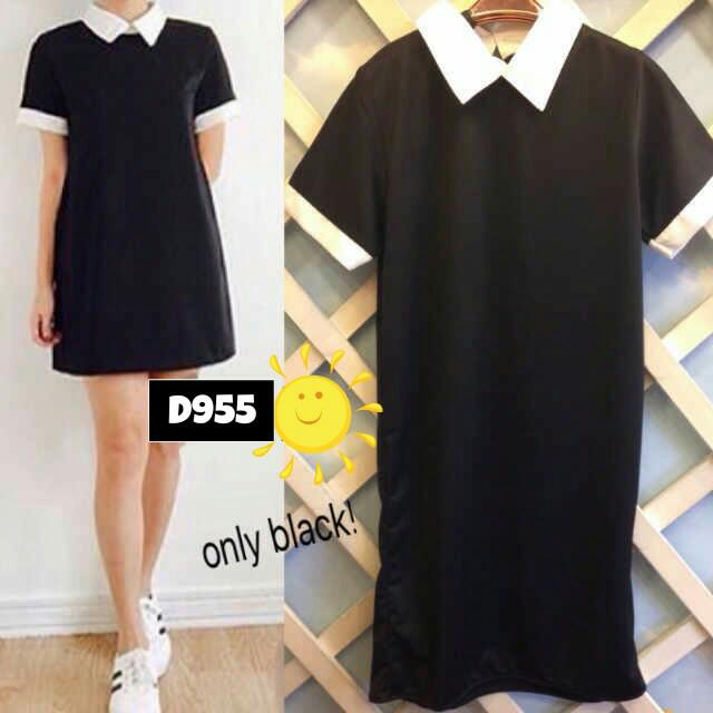 COLLAR BLACK DRESS D955