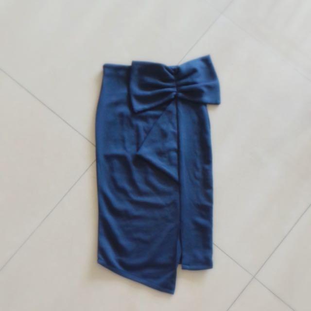 Dark Blue Bow Pencil Skirt