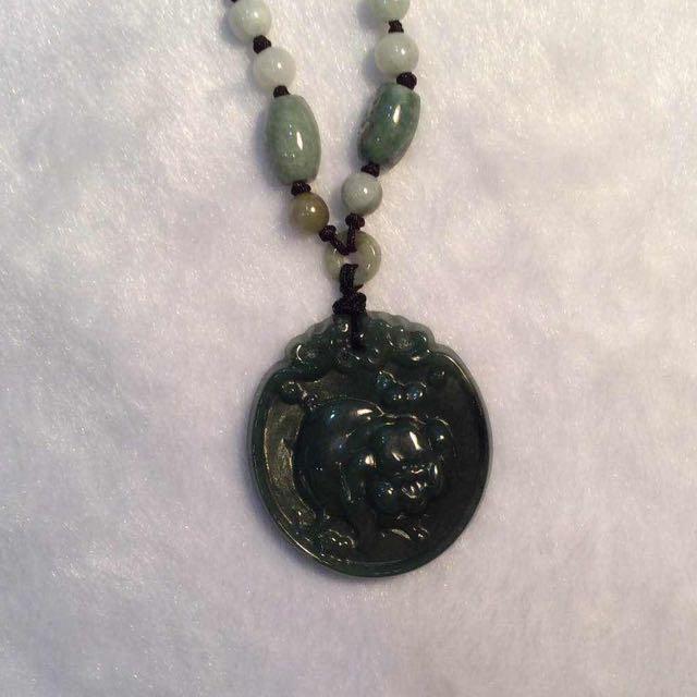 Genuine Jade Pendant Necklace (Pig)