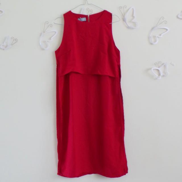 High Slit Red Sleeveless Top