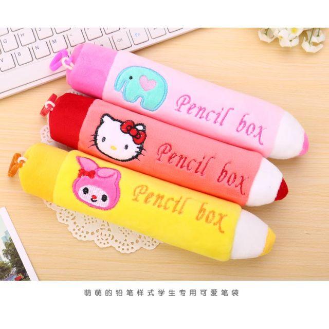 【OrangeShop】韓國可愛卡通文具盒 毛絨鉛筆袋 鉛筆造型收納袋 鉛筆造型筆袋 鉛筆造型卡通筆袋 現貨+預購
