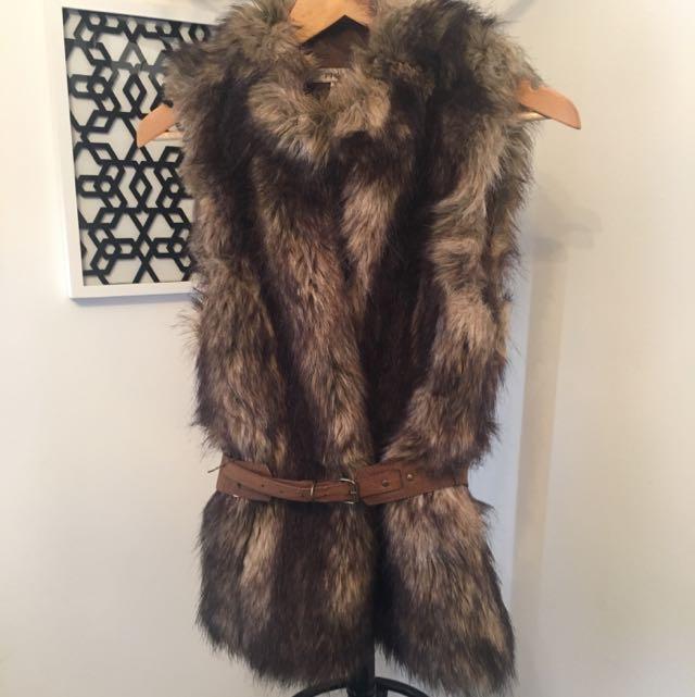Piper Faux Fur Vest With Belt