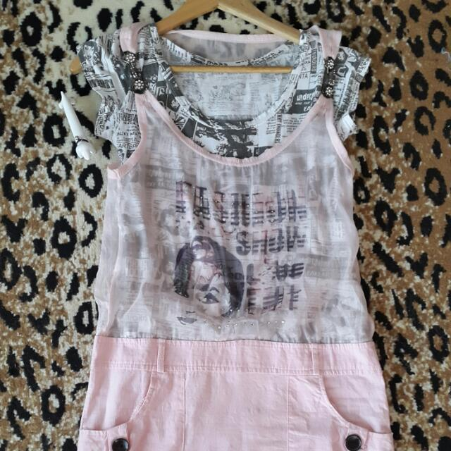 《PRELOVED♡》 NEWSPAPER PEACH MINIDRESS
