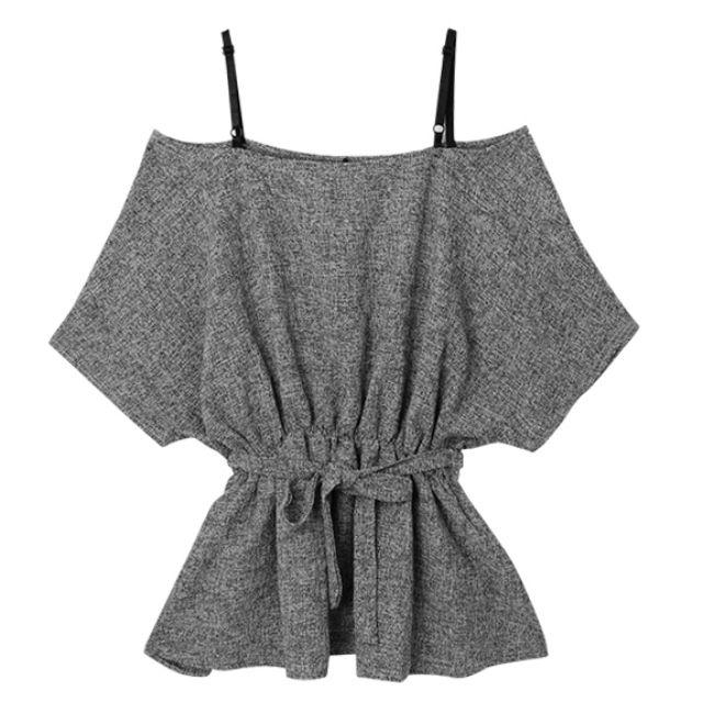 轉賣PUFII 細肩帶(可調式)露肩縮腰綁帶短洋裝  - 深灰色