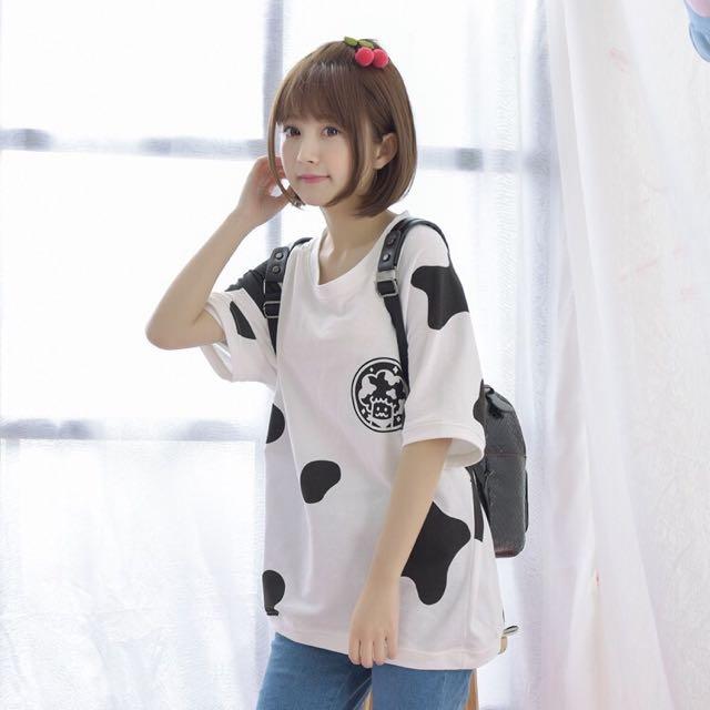 日系♥森女系可愛乳牛斑紋印花寬鬆短袖T恤上衣