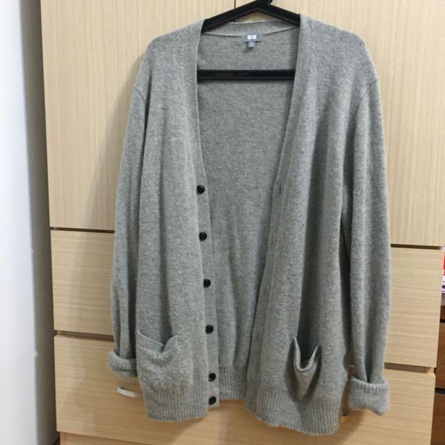 (售出待匯)UNIQLO 灰色針織外套 XL