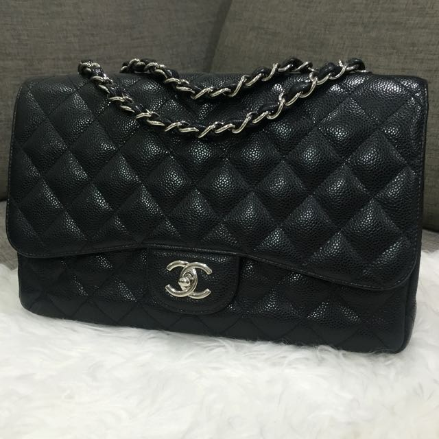 163be2c3251a Very Good Condition Chanel Jumbo Single Flap Bag In Black Caviar Leather  and SHW, Luxury on Carousell