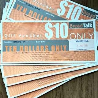 BreadTalk $10 Gift Vouchers