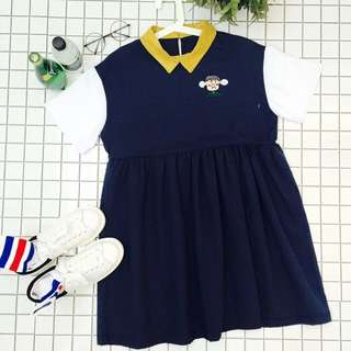Contrast Collar And Sleeves Babydoll Dress