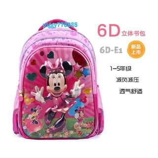 🚚 2016新款迪士尼米妮6D兒童立體書包🎒🎒