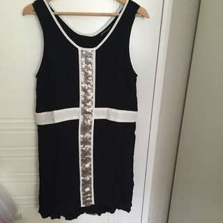Black, White And Silver Sequinned Mini Dress Size 12