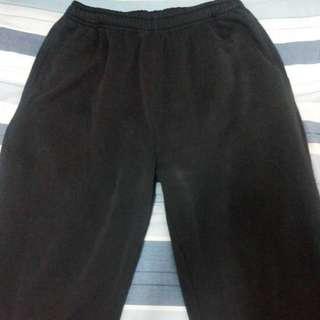重磅加厚內刷毛黑色長棉褲