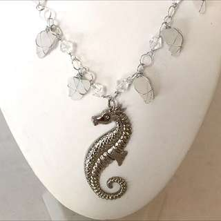 Sea Glass Necklace With Seahorse Charm