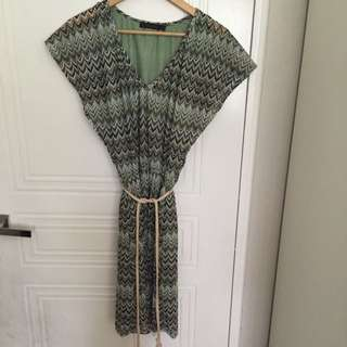 Green Woven Tie Up Dress L