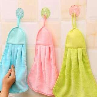 珊瑚絨可掛式擦手巾 擦拭布 超強吸水不掉毛 不沾油洗碗布