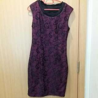Maroon Dress With Black Lace Details - Size S
