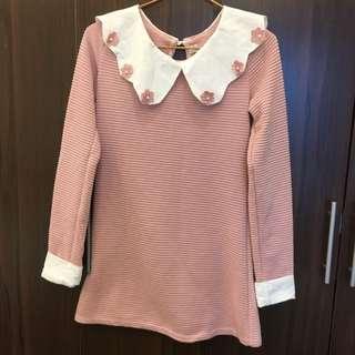 韓版小花氣質長版條紋衫