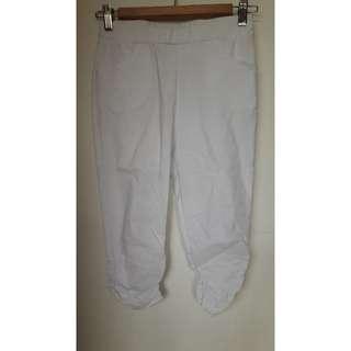 全新m號25腰白色色褲腳抓皺口袋六分褲內搭褲