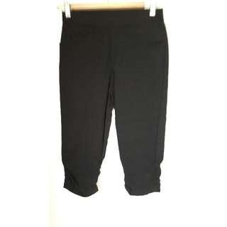 全新m號25腰黑色褲腳抓皺口袋六分褲內搭褲