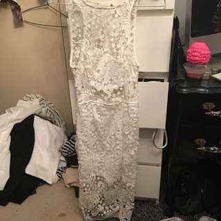 Morning Mist White Lace Midi Dress