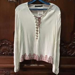Embroidered Long Sleeve Top