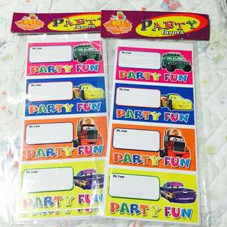 Party Name Card Stickers (2 Packs)