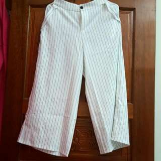 Queen Shop 白線條寬褲❤