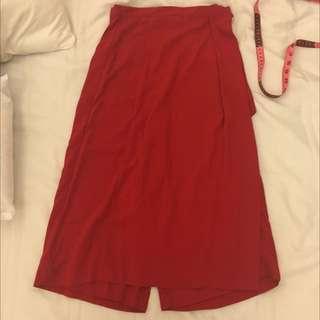 二手含運  正紅厚雪紡褲裙
