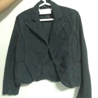 Ted Baker Size 2 Dark Green Corduroy Jacket Blazer With Elbow Patch Detail