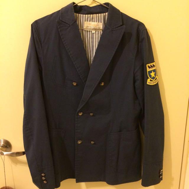 復古臂章雙排扣西裝外套