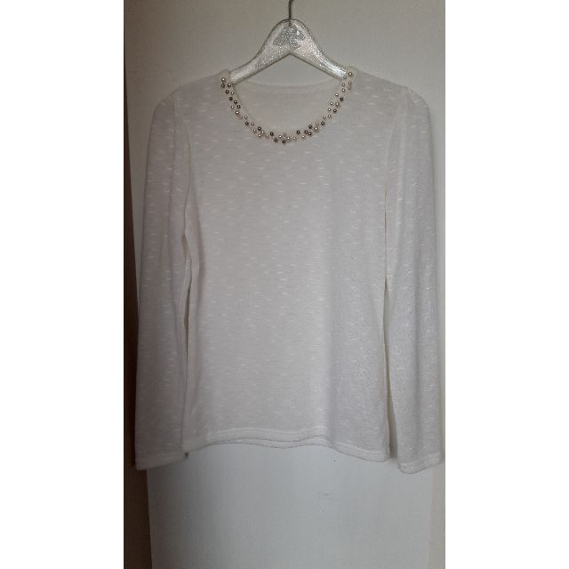 全新正韓米白珍珠領針織長袖上衣