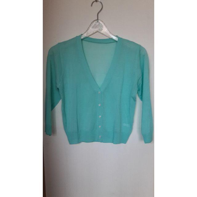 全新正韓蒂芬妮綠短版針織七分袖小外套