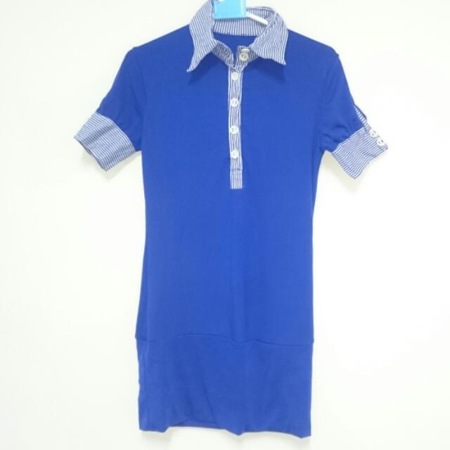 (二件400)寶藍長版短袖上衣