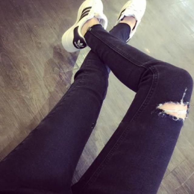韓版 個性顯瘦刷破牛仔褲