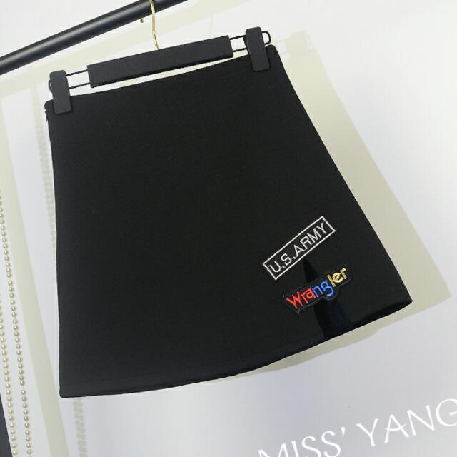 韓妞 拼接 刺繡 窄裙 排扣 裙子 短裙 白色 黑色
